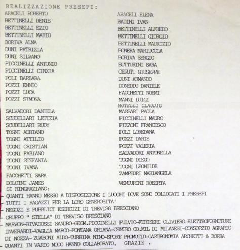 Presepi 1995, hanno parteciato alla lore realizzazione...